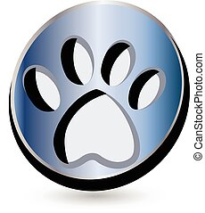 Blue dog footprint logo button vector