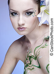 beautiful mermaid girl - portrait of beautiful girl with...