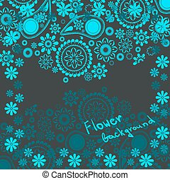 Floral background in shades of blue with space for text