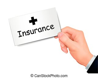 insurance card in hand isolated over white background