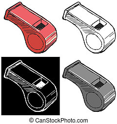 whistle - Editable vector illustrations in variations,...