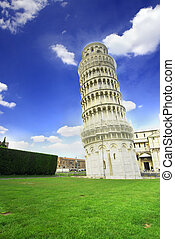 Pisa Leaning Tower - Leaning Tower of Pisa in Italy with...