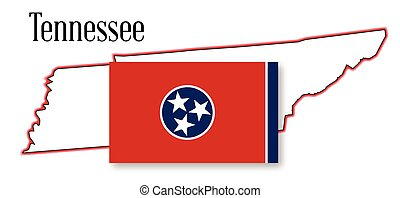 Tennessee State Map and Flag