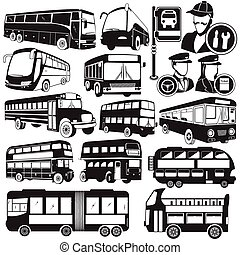 bus icons - Great collection of different black vector bus...