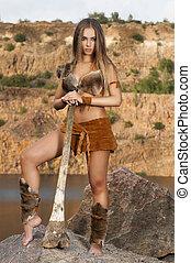 primitivo, mulher, ficar, ligado, Um, rocha, e, segurando,...