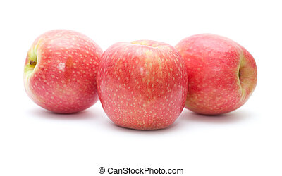 pink apples isolated on white background