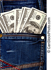 cash in pocket - dollars in the back pocket of jeans