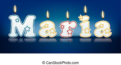 MARIA written with burning candles - vector illustration