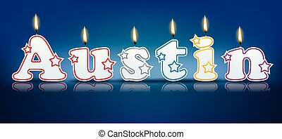 AUSTIN written with burning candles - vector illustration