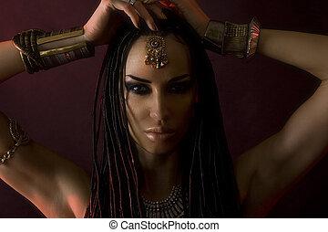 bonito, moda, beleza, Womans, maquiagem, cabelo, elegante,...