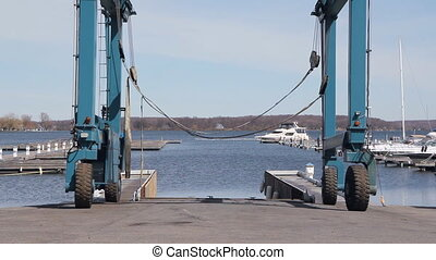 Boat hoist. - Hoist for lifting large boats into the water....
