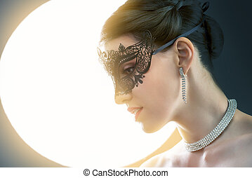 masquerade mask - cute girl in masquerade mask