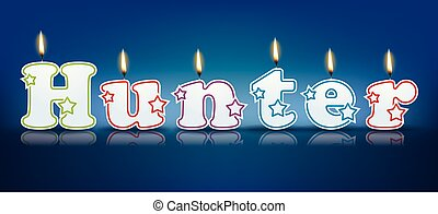 HUNTER written with burning candles - vector illustration