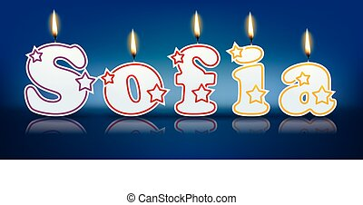 SOFIA written with burning candles - vector illustration