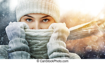 wintertime - beauty girl on the winter background