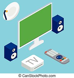 Vector illustration of home theater system with TV and speakers