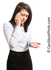 office worker taking pills - Young office worker suffering...