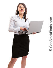 Cute businesswoman with laptop
