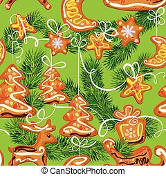 seamless christmas pattern - xmas gingerbread on green...