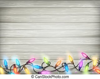 Vintage Christmas planked wood with lights. EPS 10 -...