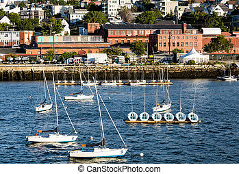 Sailboats in Harbor with Portland in Background