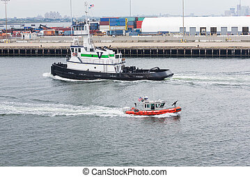 Coast Guard and Tug in New York Harbor - Green and white...