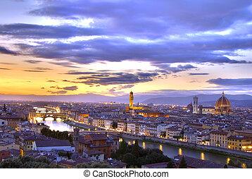 pôr do sol, Florença