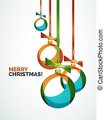 Merry Christmas modern card - abstract baubles made of wave...