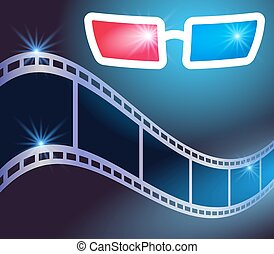 3d glasses and film strip - 3d glasses in dark movie theater...