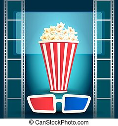 Package with popcorn with film strip and 3d glasses -...