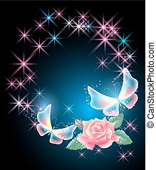 Glowing background with flower and butterflies
