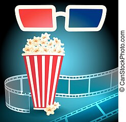 3d glasses with popcorn and film strip