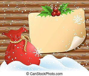 Christmas paper signboard with santa bag - Christmas paper...