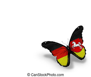 Lower Saxony  flag butterfly, isolated on white background