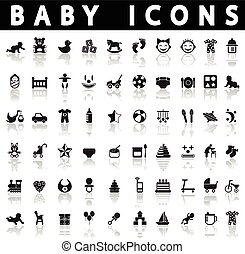 baby icons on a white background with shadow