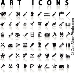 art icons - vector black art icons set on gray
