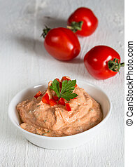 Tomato dip with fresh parsley and herbs