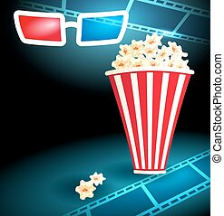 3d glasses with popcorn and film strip - 3d glasses in dark...