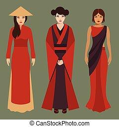 chino, japonés, y, indio, mujeres,