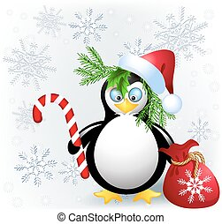 Penguin with Christmas candy, red bag and Santa hat