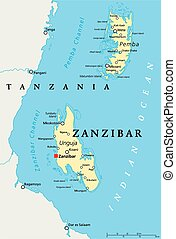 Zanzibar Political Map - Zanzibar, political map of the...
