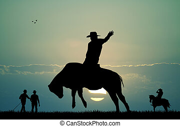 bull rider - illustration of bull rider