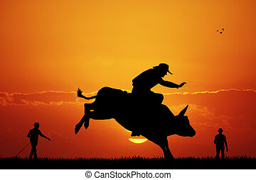 bull rider - illustration of bull rider at sunset