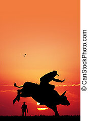 bull rider - illustration of bull rider