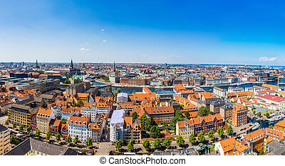Copenhagen panorama - Large panorama view of Copenhagen in...