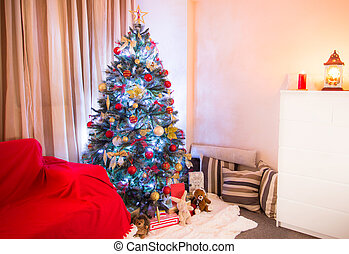 Decorated Christmas tree in a living room
