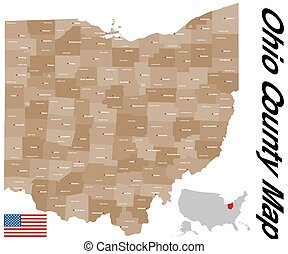 Ohio County Map - A large and detailed map of the State of...