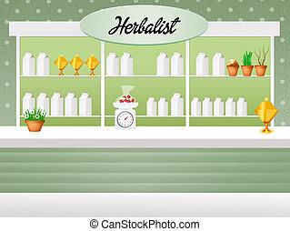 Herbalist shop - illustration of herbalist shop