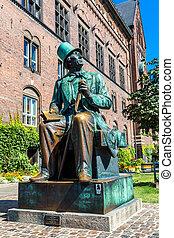 Hans Christian Andersen statue in Copenhagen, Denmark. -...