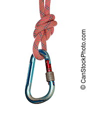 hanging hook with rope - hanging hook with red rope on white...